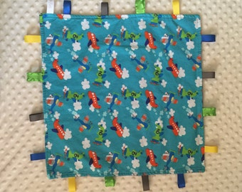 Sensory Blanket with Ribbon Tags