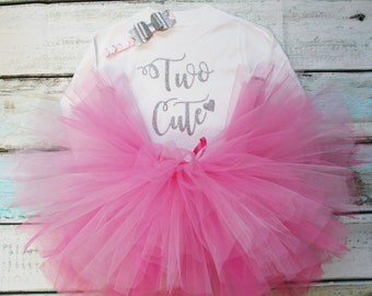 Two Cute Second Birthday Baby Girls Outfit Set Pink Tutu Silver Glitter Print White Long Sleeved Tee and Headband