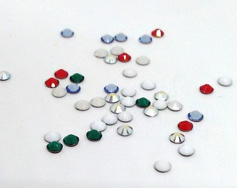 144 Christmas Rhinestones, Swarovski Hotfix Crystal, Flat Back, Assorted Colors 2028, 2.7mm Xilion Rose, SS10, Tiny Rhinestones, DIY, SA2241