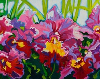 Orchidscape original acrylic painting