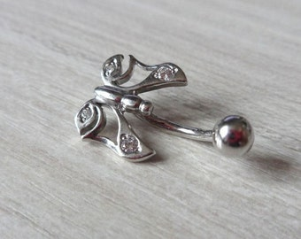 925 Sterling Silver Butterfly Bellybutton Ring Navel Ring Belly Ring