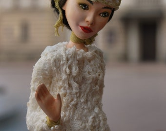 OOAK Art Doll, Paper Clay, Handmade doll, Touch Me Not