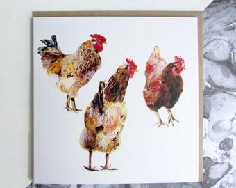 Three Chickens Card