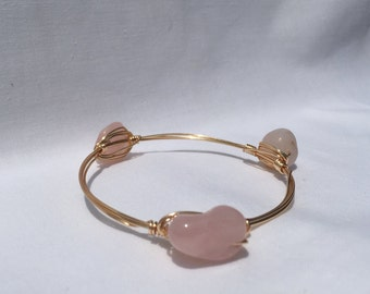 Gemstone Wire Bangle-Gold with Light Pink Gems