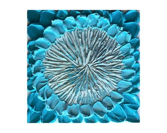 Original textured painting aqua teal flower decor art 10x10