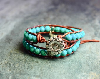 Wrap, leather and Turquoise bracelet