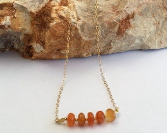Orange carnelian necklace, Carnelian necklace, Gold filled necklace, Carnelian gemstone, Orange gemstone, Orange carnelian, Orange necklace,
