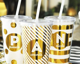 Metallic Gold Monogram Tumblers-bridesmaid gifts, wedding gifts, bridal party gifts