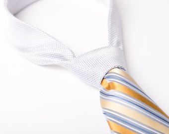 Mens Contrast Knot Necktie Yellow Blue and White Tie