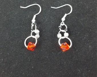 Dangle Earrings-Red Bead