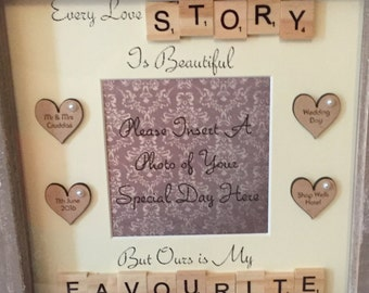 Handmade Personalised Wedding,Engagement or Anniversary Scrabble Quote Frame