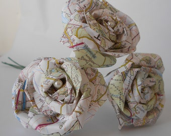 Set of 3 paper OS map flowers