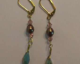 Swarovski Crystal and Freshwater Pearl Gold Earrings