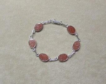 Gorgeous Aventurine Feldspar STERLING silver 6-stone bracelet.
