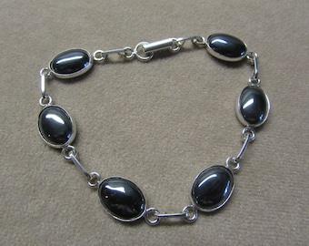 Exquisite HEMETITE STERLING silver 6 stone bracelet.