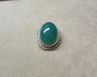 Incredible Rich Green Onyx STERLING silver HIGH CABOCHON Pin/Pendant
