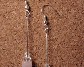 Pink & Clear Glass Bead Drop Earrings