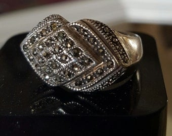 Art deco silver and Marcasite ring