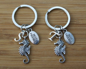 Seahorse Best Friends Keychain, Set of TWO Personalized Keychain, Birthday Gift, Bridesmaid Gifts, Seahorse Sea Animal Lovers Gift
