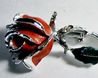 Vintage Red Rose Brooch with Silver stem 3 inches long