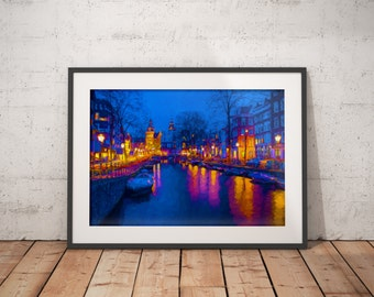 Amsterdam Canal Night Lights Print, Europe Painting,
