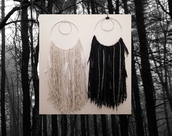 Good Witch Bad Witch Yarn Boho Wall Hangings Dreamcatcher; Silver Circles; Bohemian Home; Hippie Home; Witchy Home; Geometric Wall Art;