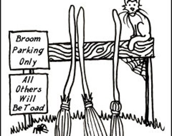"Coloring Page - ""Broom Parking"""