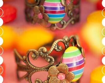 Multicoloured Resin Ring   Candy Shoppe   Filigree jewellery - Unique - Handmade - Adjustable