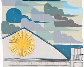 The Sun sleeps - Illustration - signed print