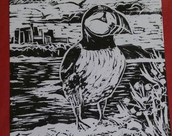 "Puffin, hand printed, lino cut, A5 birthday card ""with love"""