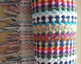 Handwoven Bath Towel - 100% Organic Turkish Cotton - Bright and Funky
