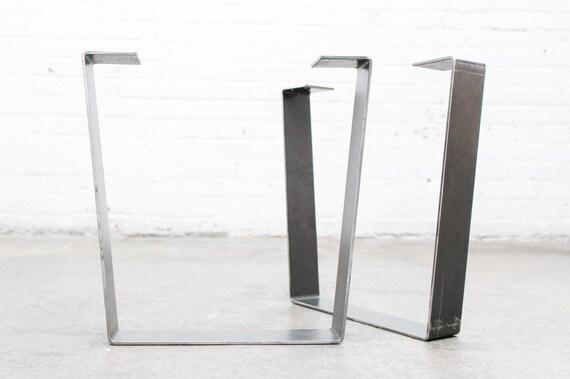 "16"" Trapezoid Modern Flat Steel Legs (Raw Steel) - Set of 2 Industrial Strength Table Legs - DIY Bench Legs, Coffee Table Legs, Etc."
