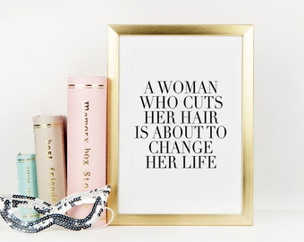 COCO CHANEL QUOTE,Chanel Wall Decor,Hair Salon Decor,Girls Room Decor,Gift For Her,Chanel Fashion Print,Chanel Inspired,Typography Print
