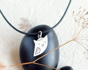 Owl silver pendant - Sterling Silver Owl Pendant