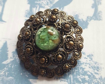 SALE REDUCED (Was 10) Vintage Brooch with Green Art Glass Center. Possibly Czech Czechoslovakian 1960s. Antique Look.