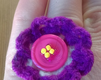 Crochet flower ring - handmade, one of a kind