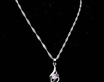925 Silver necklace rhinestones