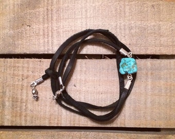 Trove - leather wrap bracelet with turquoise chunk