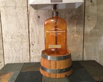 Huge 4.5 Liter Woodford Reserve Bottle Lamp with Woodford Oak Barrel Base free Shipping