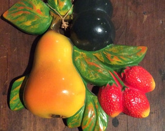 Vintage chalk fruit plaque