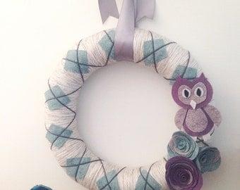 Felt owl wreath