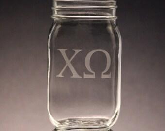 Chi Omega | Mason Jar Etched Chi O Mason Jar 16oz Mason Jars