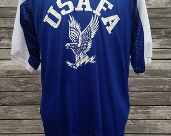 Vintage 80s Air Force Academy Falcons T Shirt Jersey - Large - XL - USAFA