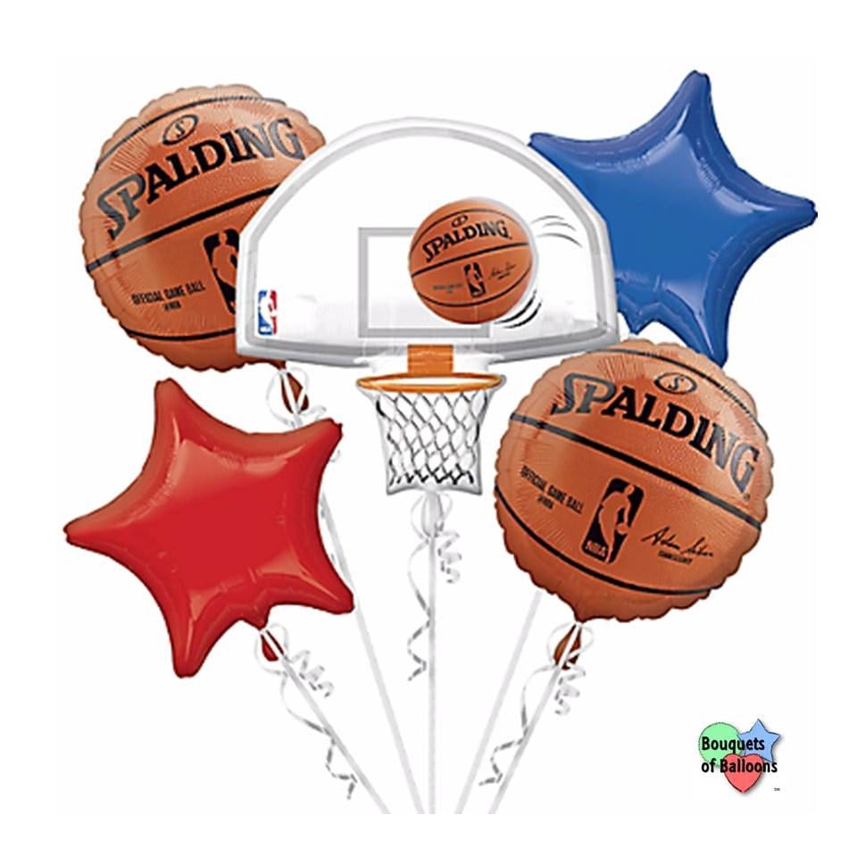 nba basketball spalding bouquet of mylar balloons. Black Bedroom Furniture Sets. Home Design Ideas