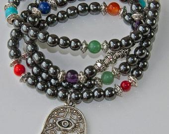 108 Mala Prayer Beads, Hematite 7 Chakra Necklace,Hamsa Protection Bracelet,Meditation Mantra Necklace,Buddhist Jewelry,Zen Necklace,Reiki