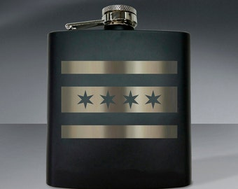 Chicago Flag Flask 01 - 6 oz. Flask