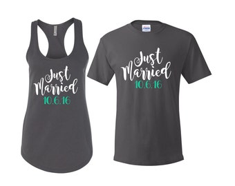 Just Married Shirts, Hubby shirt, wifey shirt, honeymoon shirts, engagement gift, Mr and Mrs Shirts