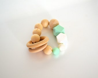 Teething rattle | Baby Rattle | Teething Ring | Wooden Ring | Silicone beads | Baby Toy | Mint |