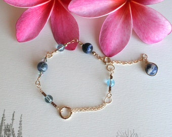 Wire Wrapping Bracelet with Swarovski Crystals & Natural Stone 109