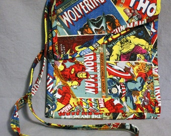 Marvel Comic Book Shoulder Bag - Handmade - Marvel Heroes Thor, Iron Man, Hulk, Captain America and Wolverine